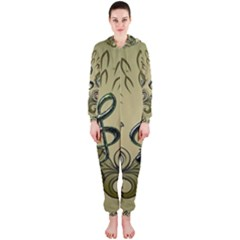 Decorative Clef With Damask In Soft Green Hooded Jumpsuit (ladies)