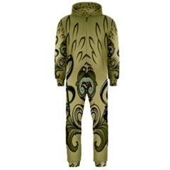 Decorative Clef With Damask In Soft Green Hooded Jumpsuit (Men)