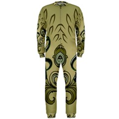 Decorative Clef With Damask In Soft Green Onepiece Jumpsuit (men)