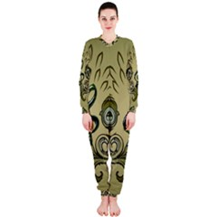 Decorative Clef With Damask In Soft Green OnePiece Jumpsuit (Ladies)