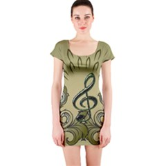 Decorative Clef With Damask In Soft Green Short Sleeve Bodycon Dresses