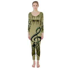 Decorative Clef With Damask In Soft Green Long Sleeve Catsuit