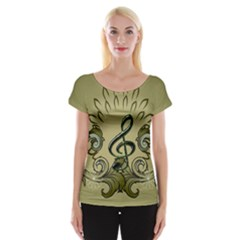 Decorative Clef With Damask In Soft Green Women s Cap Sleeve Top