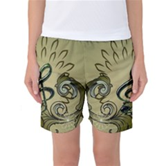 Decorative Clef With Damask In Soft Green Women s Basketball Shorts