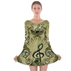 Decorative Clef With Damask In Soft Green Long Sleeve Skater Dress