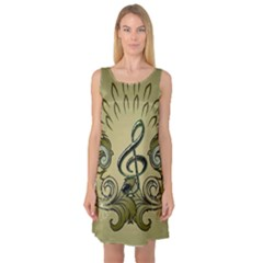 Decorative Clef With Damask In Soft Green Sleeveless Satin Nightdresses
