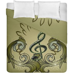 Decorative Clef With Damask In Soft Green Duvet Cover (double Size)