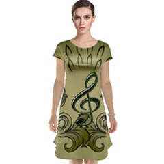 Decorative Clef With Damask In Soft Green Cap Sleeve Nightdresses