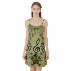 Decorative Clef With Damask In Soft Green Satin Night Slip