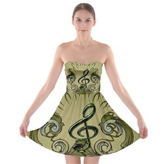 Decorative Clef With Damask In Soft Green Strapless Bra Top Dress
