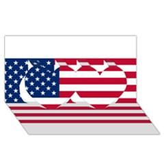 Usa1 Twin Hearts 3D Greeting Card (8x4)