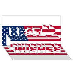 Usa1 Best Wish 3D Greeting Card (8x4)