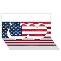 Usa2 Twin Hearts 3d Greeting Card (8x4)