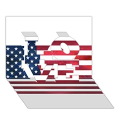 Usa2 LOVE 3D Greeting Card (7x5)