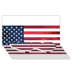 Usa2 Twin Heart Bottom 3d Greeting Card (8x4)