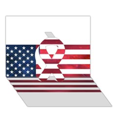 Usa2 Ribbon 3d Greeting Card (7x5)