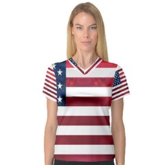 Usa2 Women s V Neck Sport Mesh Tee