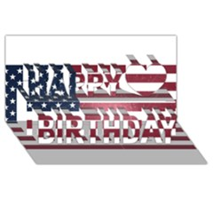 Usa3 Happy Birthday 3d Greeting Card (8x4)