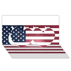 Usa3 Twin Hearts 3D Greeting Card (8x4)