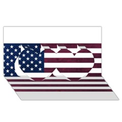 Usa4 Twin Hearts 3d Greeting Card (8x4)