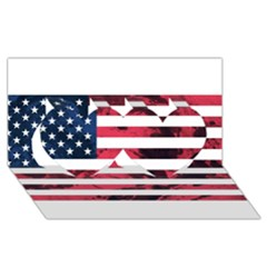 Usa5 Twin Hearts 3D Greeting Card (8x4)