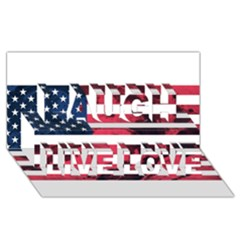 Usa5 Laugh Live Love 3D Greeting Card (8x4)