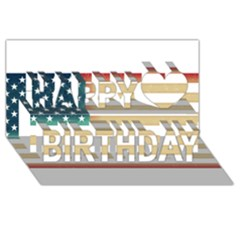 Usa7 Happy Birthday 3D Greeting Card (8x4)