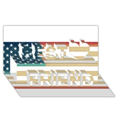 Usa7 Best Friends 3D Greeting Card (8x4)