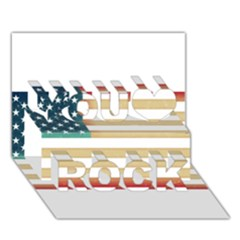 Usa7 You Rock 3D Greeting Card (7x5)
