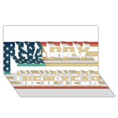 Usa7 Happy New Year 3D Greeting Card (8x4)