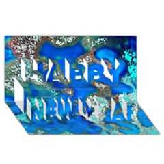 Cocos Reef Sinkholes Happy New Year 3d Greeting Card (8x4)