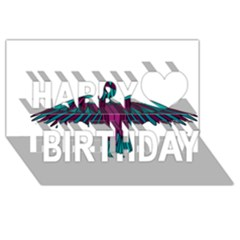 Stained Glass Bird Illustration  Happy Birthday 3D Greeting Card (8x4)