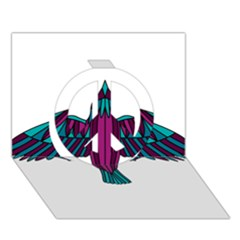 Stained Glass Bird Illustration  Peace Sign 3d Greeting Card (7x5)