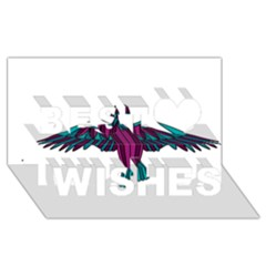 Stained Glass Bird Illustration  Best Wish 3D Greeting Card (8x4)
