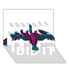 Stained Glass Bird Illustration  You Did It 3D Greeting Card (7x5)