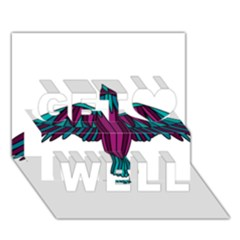 Stained Glass Bird Illustration  Get Well 3D Greeting Card (7x5)