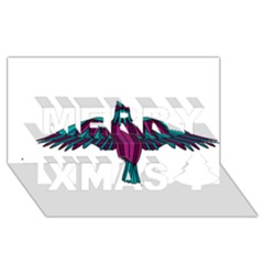 Stained Glass Bird Illustration  Merry Xmas 3d Greeting Card (8x4)