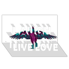 Stained Glass Bird Illustration  Laugh Live Love 3D Greeting Card (8x4)
