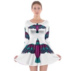 Stained Glass Bird Illustration  Long Sleeve Skater Dress