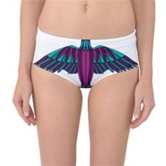Stained Glass Bird Illustration  Mid-Waist Bikini Bottoms