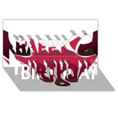 Fox Logo Red Gradient  Happy Birthday 3D Greeting Card (8x4)