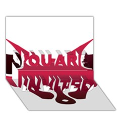 Fox Logo Red Gradient  YOU ARE INVITED 3D Greeting Card (7x5)