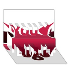 Fox Logo Red Gradient  You Did It 3D Greeting Card (7x5)