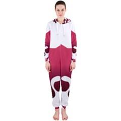 Fox Logo Red Gradient  Hooded Jumpsuit (ladies)