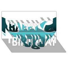 Fox Logo Blue Gradient Happy Birthday 3D Greeting Card (8x4)
