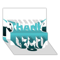 Fox Logo Blue Gradient Thank You 3d Greeting Card (7x5)