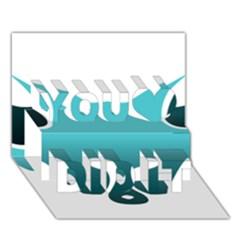 Fox Logo Blue Gradient You Did It 3d Greeting Card (7x5)