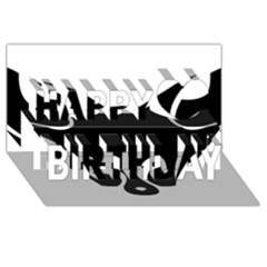 Black Fox Logo Happy Birthday 3D Greeting Card (8x4)