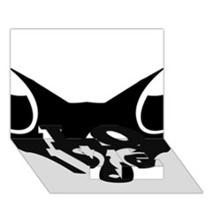 Black Fox Logo Love Bottom 3d Greeting Card (7x5)