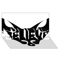 Black Fox Logo Believe 3d Greeting Card (8x4)